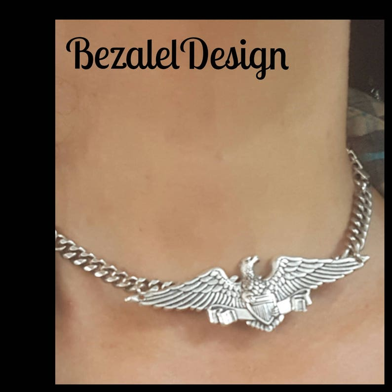 Eagle bird pendant Necklace Harley Davidson rocker chain,punk style jewelry,statement biker necklace for her Silver Wings Chain Choker
