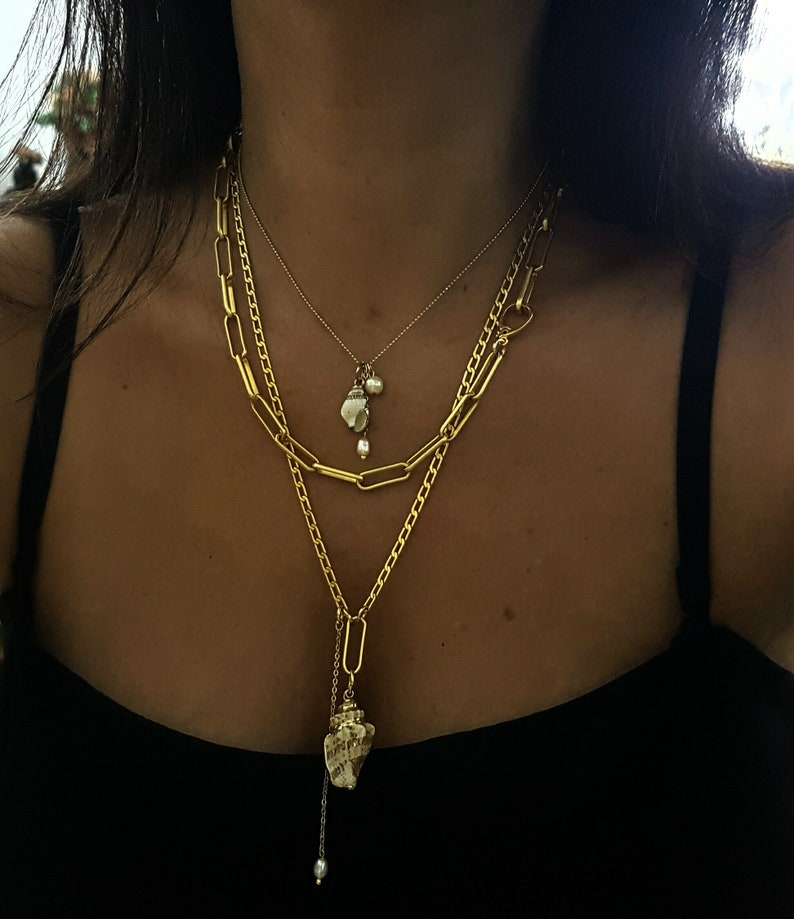 Summer Nautical Gold Seashell Necklace Tropical Sea Beach Ocean Sea Lover Gift. Gold Shell Pendant Necklace Nature Lover Gift