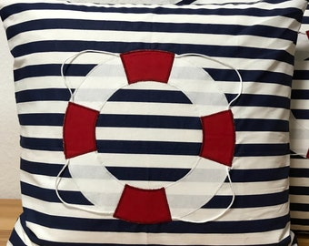 1 Maritime Kissenhülle *Rettungsring Grau//weiß gestreift 50x50cm.