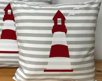 Seagulls 1 maritime Pillowcase Cushion Cover Country Style Beige//White Striped 40x40