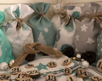 Country style Advent calendar bag to fill *  gray/Mint green