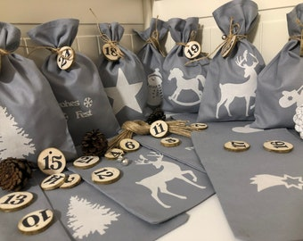 Country style Advent calendar bag to fill *  gray/white