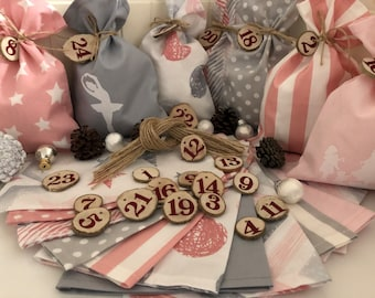 Country style Advent calendar bag to fill *  gray/white/pink