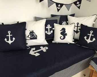 Maritime patchwork blanket * Bedspread * Baby blanket * blue 130x200cm.