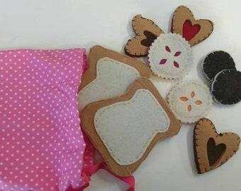 Handbag with various treats. Snack for Dolls,