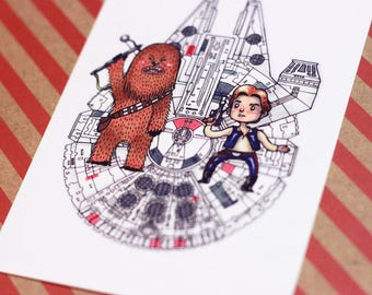 Han and Chewy - Print - Star Wars