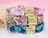 Personalized Laser Engraved Nylon Floral Dog Collar with Free Custom ID Engraving