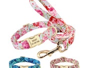 Personalized Laser Engraved Nylon Floral Dog Collar and or Matching Leash