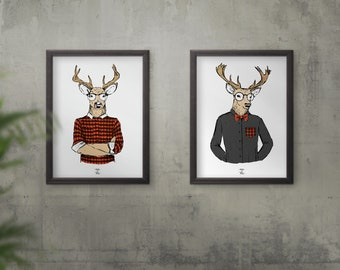 DUO poster download - deer Plaid - 8.5 x 11 / 11x17po - buck with Plaid, lumberjack, glasses, funny shirts