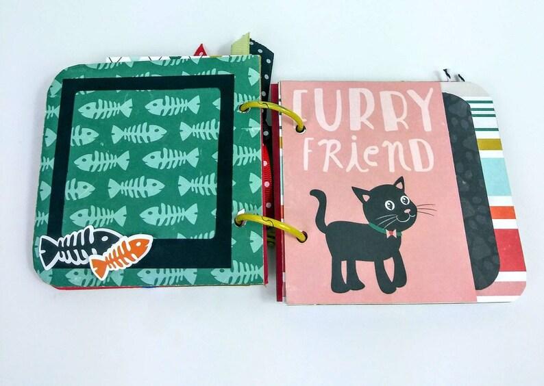 Cat mini album tiny album echo park paper album cat mom premade album memories book instax photos cat memories book cat lovers gift