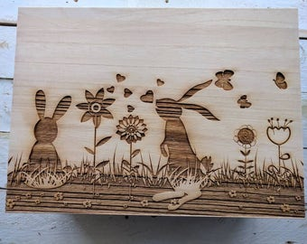 Large Personalised Wooden Memory Box With Rabbits