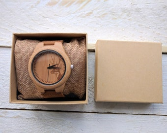 Personalised Wooden Watch (With Stag)