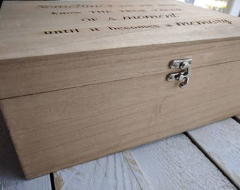 Personalised Large Rustic Wooden Memory Box Hand Stained and Engraved