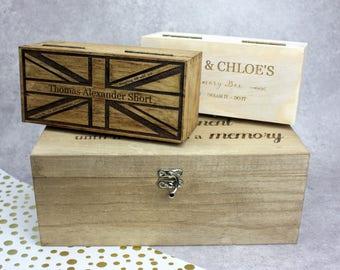Personalised Memory Box, Custom Memory Box, Rustic Keepsake Box, Wedding Memory Box, Children's Memory Box