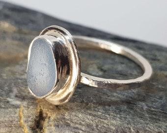 Cornish Jewellery Size UK W Fully Hallmarked Sterling Silver Cornflower Blue Sea Glass Ring Handmade in Cornwall