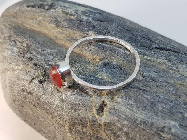 Handmade in Cornwall Size UK Y Fully Hallmarked Sterling Silver Cornish Jewellery Orange Sea Glass Ring