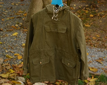 8f9f5e748a7 Vintage Military Green Canvas Anorak