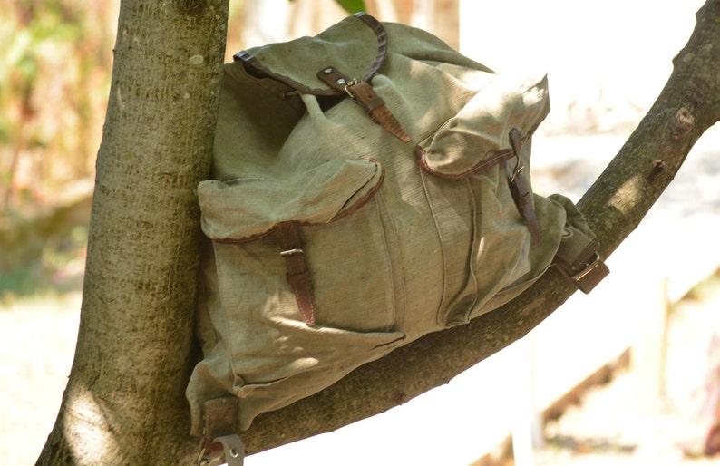Vintage Green Canvas Backpack,Military Bag,Military Backpack,Canvas Rucksack,Large Unisex Canvas Bag,Retro Canvas Backpack,Large Canvas Bag