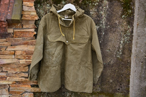 Vintage Military Canvas Anorak,Green Canvas Jacket