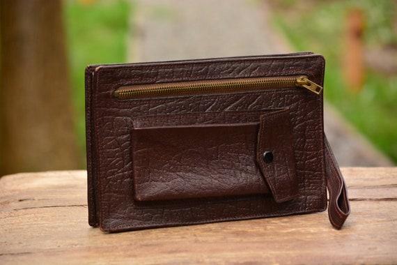422d19f3a2de2 Vintage brązowy skórzany mężczyźni bransoleta torba na | Etsy