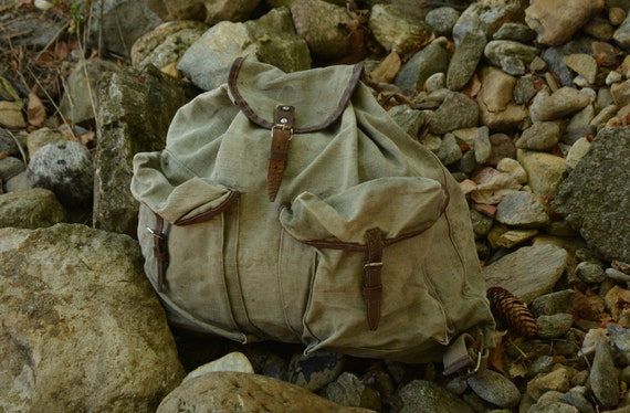 Vintage Green Canvas Backpack,Military Bag,Militar