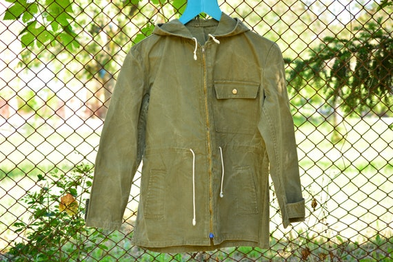 Vintage Military Green Canvas Women Anorak,Green C