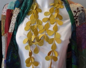 Mustard Yellow leaf Necklace