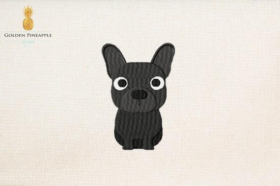 Schwarze französische Bulldogge Stickmuster 5 Größen Hund | Etsy
