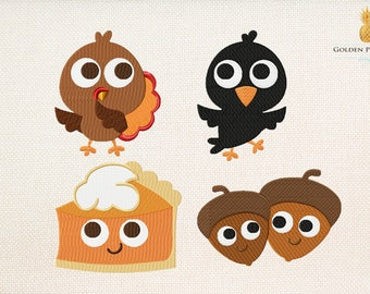 Thanksgiving embroidery design - set of 4 - 5 sizes - sweet embroidery design