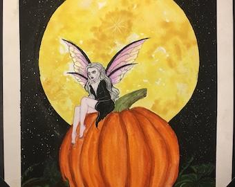 Dark Fairy on a Pumpkin