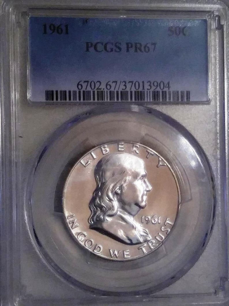 1961 MS-67 Franklin Proof--Gem brilliant and spotless--PCGS current price  guide 55 00   90 percent silver---shipping 2 89