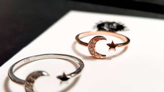 UK Dainty JiSis Front Open US Adjustable White Gold Cubic Zirconia Ring MoonStar Rose gold Crescent Moon Star Sterling Silver Ring