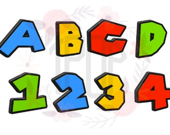 3D Colorful Mario brothers inspired letters and numbers Instant Download!
