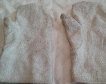 Vintage White Fireman Gloves/Mittens/Antique/Primitve Work Gloves/Polyester