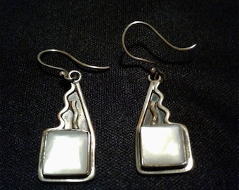 Vintage Mother of Pearl Sterling Silver Earrings/Reenactment Accessories/Art Deco Jewelry/.925/Authentic/One of A Kind/Boho/Mexican SIlver