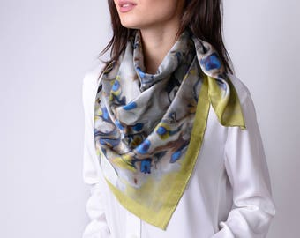 Silk Carre Abstract Floral Golden Lime