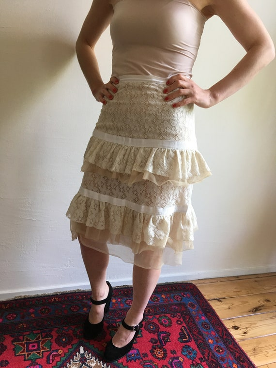 Antique looking lace tulle skirt
