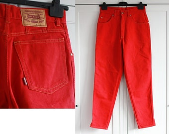 5027acc813 BIG STAR Jeans, High Waisted Red Mom Jeans Vintage 80s Red Denim Taille 30 x  30 W30 L30