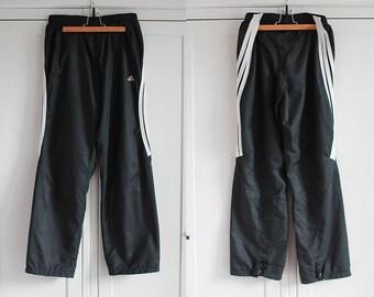 67252aa3daebba 90er-Jahre Adidas Jogger Black White Pants