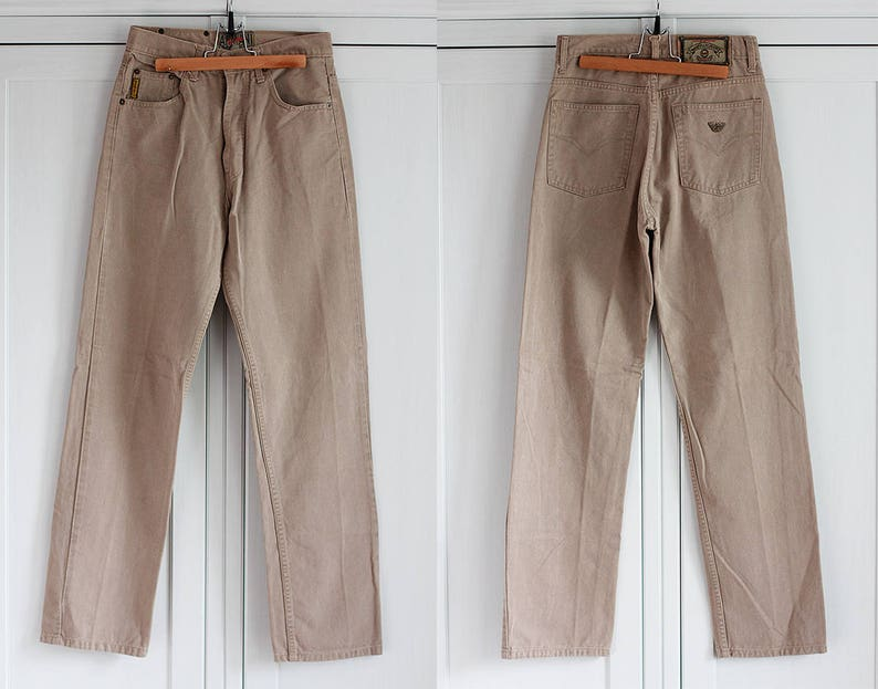b1359110 Armani Jeans High Waisted Beige Denim Men Women Vintage Pants Button Fly  Jeans Size W28 L31