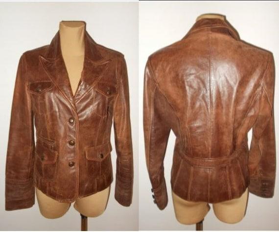 70s Leather Jacket Camel Color Vintage Women Men L