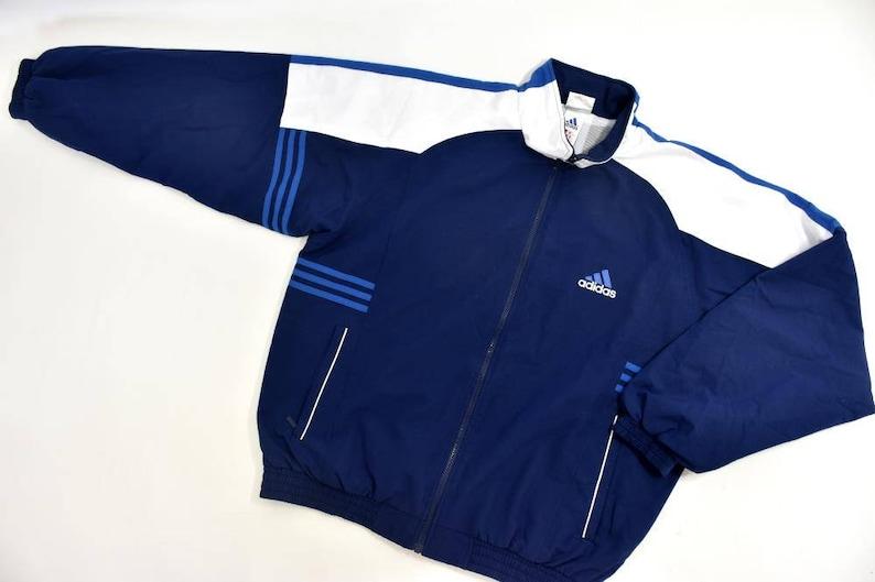 10c5a7a341feb Vintage Adidas Jacket Navy Blue White Bomber Oldschool Jacket