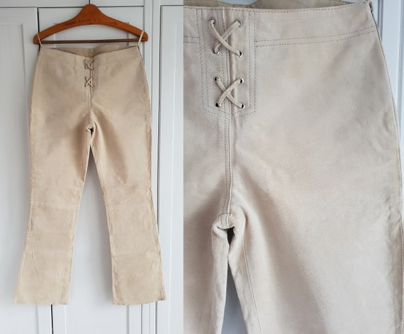 Vintage Suede Leather Pants Lace up Beige Genuine