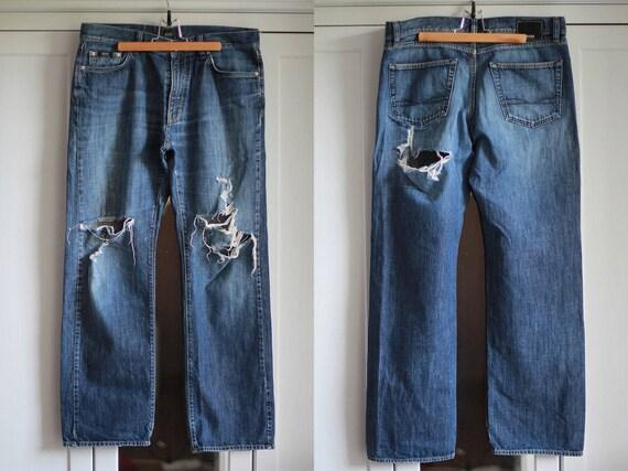ab11a5a9 Vintage Hugo Boss Jeans Destroyed Blue Denim Men's   Etsy