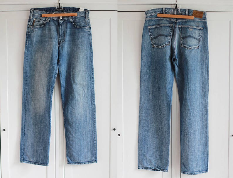 21722445 Armani Jeans High Waisted Blue Denim AJ Jeans Men Women | Etsy
