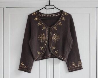 Vintage Shrug Bolero Cardigan Lambswool Angora Women Sweater Blazer Sequins Crop Top
