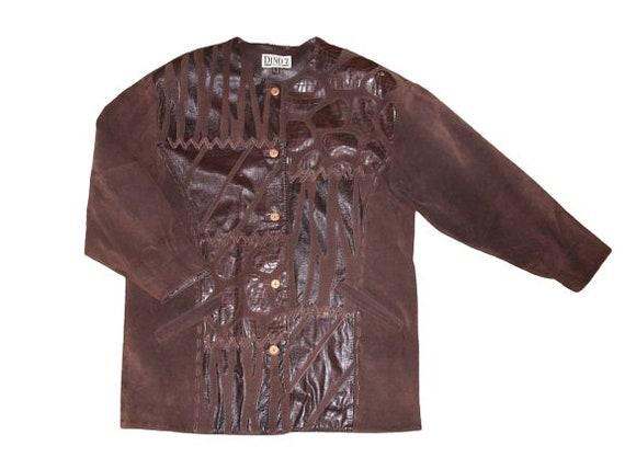 Vintage Suede Leather Jacket Brown Women Jacket Si