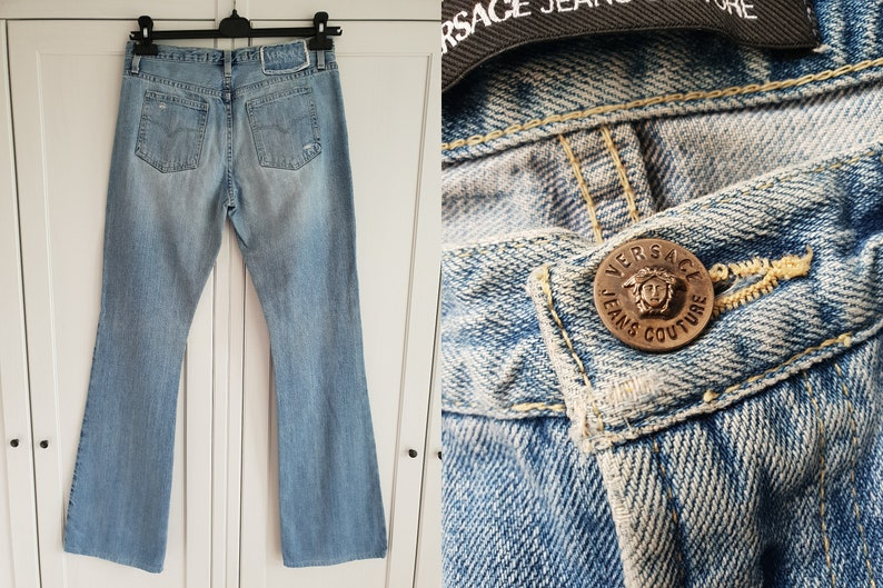 fe21f60f Versace Women Jeans Light Blue Denim Jeans Vintage Jeans Italy Size 29 43  Medium / Large Made in Italy