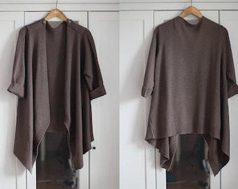 Knit Poncho Cape Blazer Cardigan Oversize Knitted Women Sweater Khaki / Brown Soft Vest Cozy