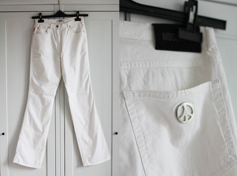 a82bcb10 Moschino White Jeans Pants / High Waisted Moschino Women | Etsy